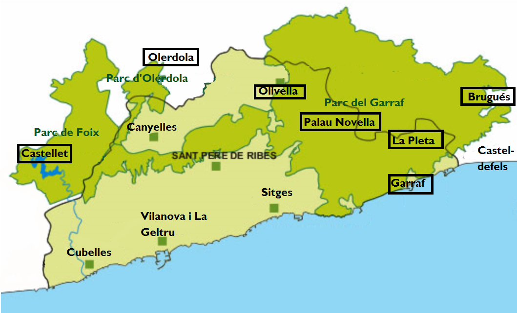 kaart van het parc El Garraf