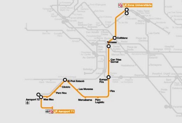 metro L9 van Aeroport naar de universiteit
