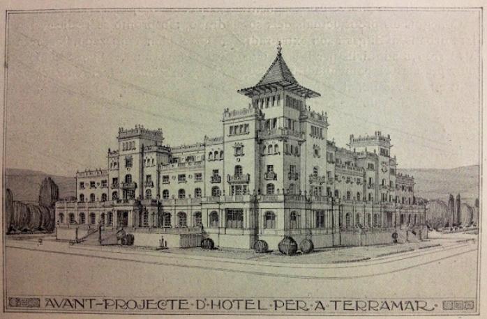 Het oorspronkelijke ontwerp voor het hotel Terramar.